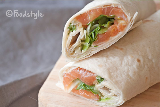 Wraps zalm roomkaas en rucola