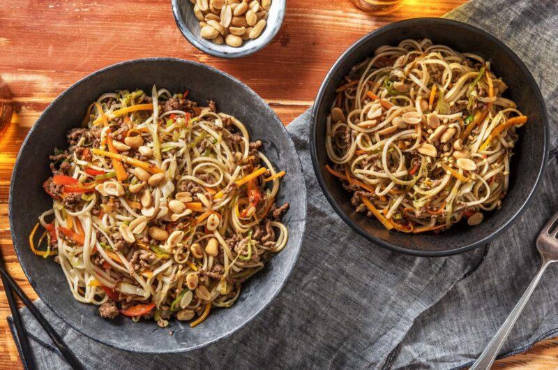 Recept noodles met gekruid gehakt